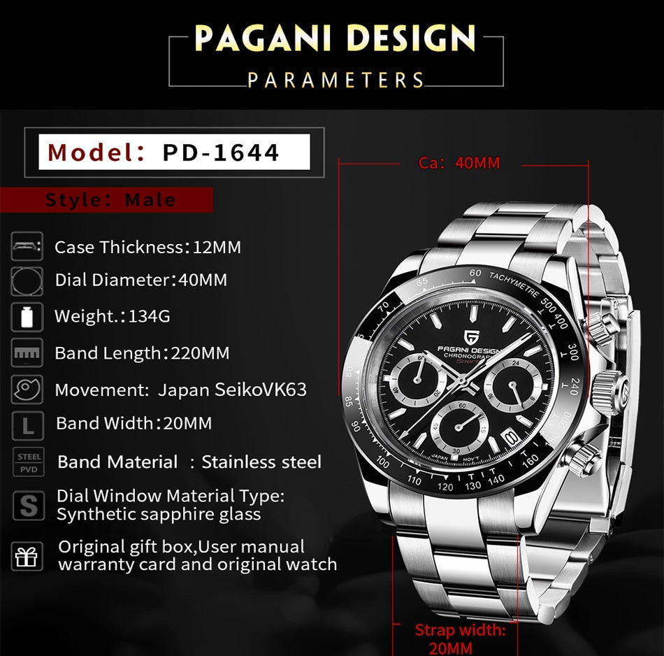 PAGANI 2019  Series Classic Black Dial Luxury Men quartz Watches Stainless Steel 30m Waterproof Mechanical Watch