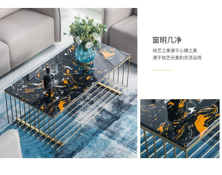 Louis Fashion Coffee Table Nordic Living Room Marble Iron Rectangle Simple Small Apartment Visitor