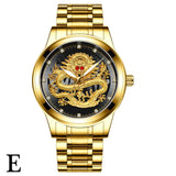 FNGEEN Top Brand Luxury Gold Men Mechanical Watch 3D CNC Life Waterproof Dragon Face Full Solid Watches Wristwatch Dropshipping