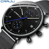 Mens Watch CRRJU Luxury Top Brand Men Stainless Steel WristWatch Men's Military waterproof Date Quartz watches relogio masculino