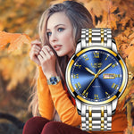 LIGE Couple Watch Gold Blue Watch Women Quartz Watches Ladies Top Brand Luxury Female WristWatch Girl Clock Relogio Feminino