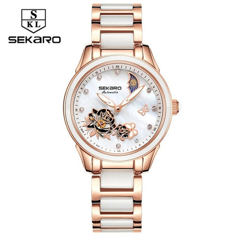 Sekaro Ceramic Women Watch 2019 Butterfly Design Ladies Mechanical Automatic Watches Luxury Brand Sapphire Crystal Women's Watch