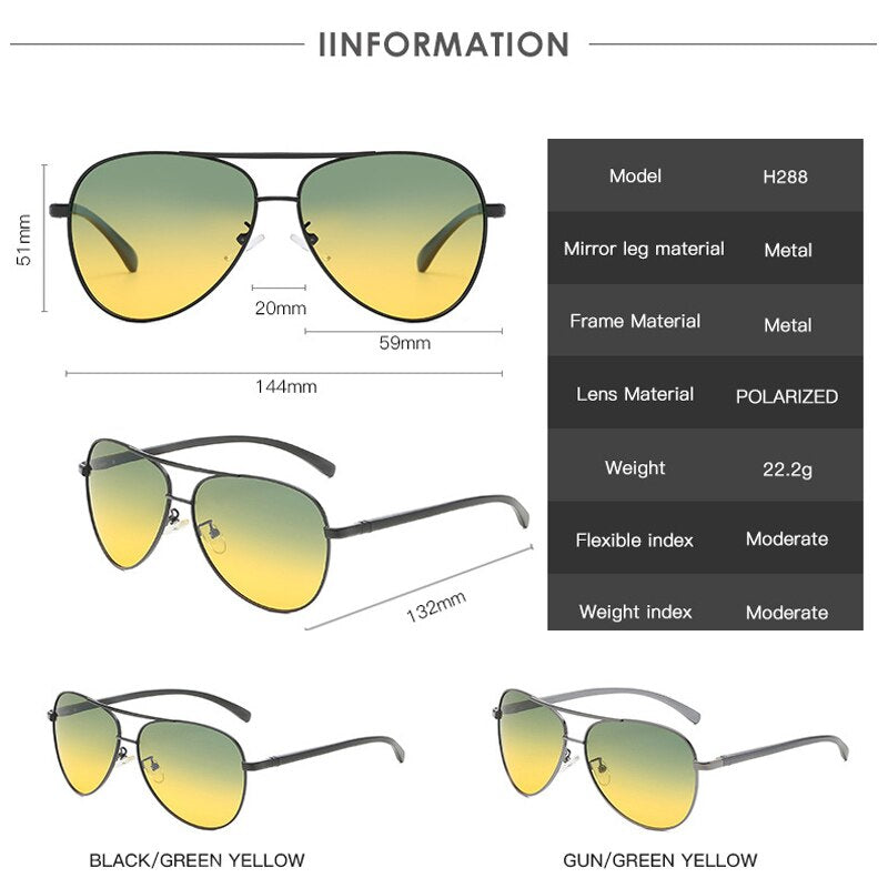 YOK'S Military Polarized Green Yellow Sunglasses Men Day Night Car Driving Goggle Eyeglass Aluminum Frame Eyewear Oculos H288