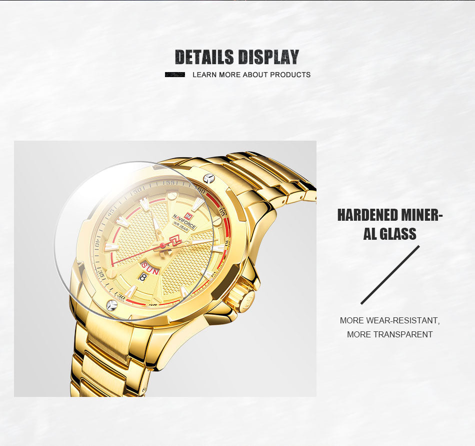 NAVIFORCE Fashion Casual Mens Watches Top Brand Luxury Waterproof Quartz Clock Golden Stainless Steel Strap Business Wrist Watch