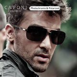 CAPONI Photochromic Men Sunglasses Polarized Classic Brand Square Eye Glasses High Quality Driving Sun Glasses For Male CP8724