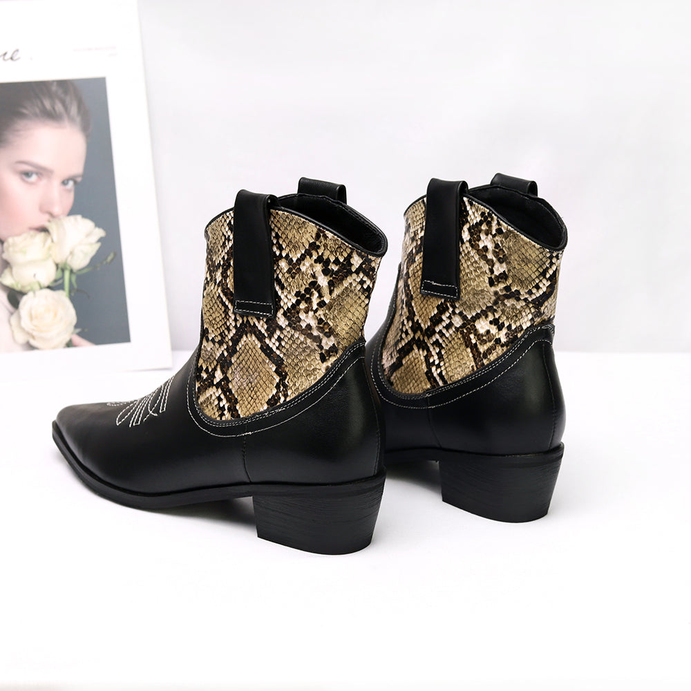 Cossacks Mixed Colors PU Leather Cowboy Ankle Boots Women Wedge High Heel Booties Snake Print Western Cowgirl Boot 2019 Female