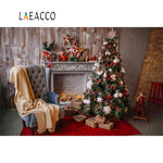 Laeacco Rural House Chirstmas Tree Fireplace Gift Armchair Baby Toys Child Portrait Photo Backgrounds Photographic Backdrop