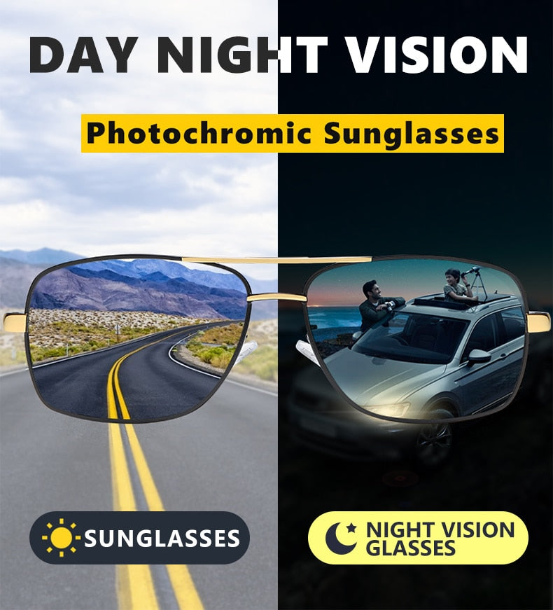 Brand Polarized Photochromic Sunglasses Men Day Night Vision Dual Eyes Protect Sun Glasses Unisex driving goggles oculos de sol