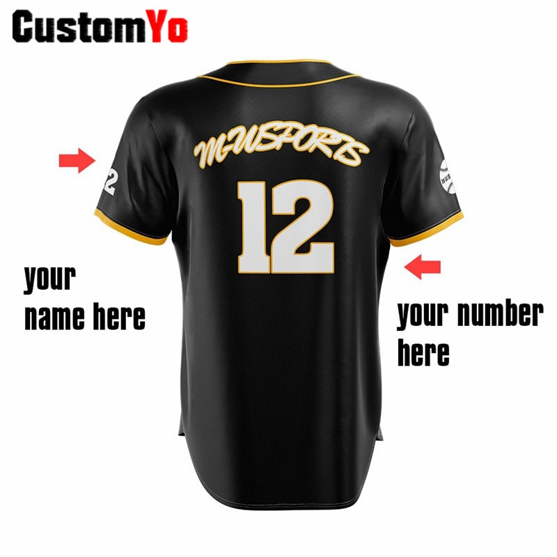 Men Button 100%Polyester Baseball Uniforms Custom Black Team Baseball Jersey