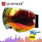 QUISVIKER Brand Double Layers Anti Fog Ski Goggles Wintersport Skiing Glasses Men Women Snow Mask Snowboard Goggles Snowmobile