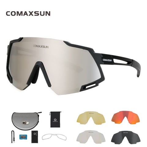 COMAXSUN Professional Polarized 5 Len Cycling Glasses MTB Road Bike Sport Mirror Sunglasses Bike Eyewear UV400 Bicycle Goggles