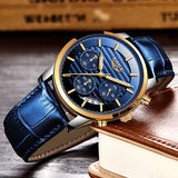 Relojes Hombre 2019 LIGE Casual Blue Leather Fashion Quartz Watch Men Military Wateproof Clock Man Big Dial Date Chronograph+Box