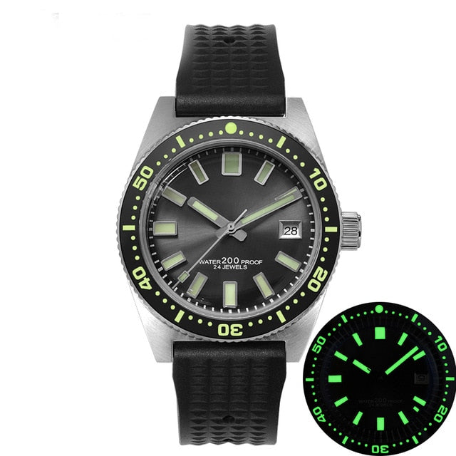 San Martin 62Mas Diver Automatic Mechanical Men Watch NH35 Stainless Steel Ceramic Bezel Sunray Dial Rubber Calendar Luminous
