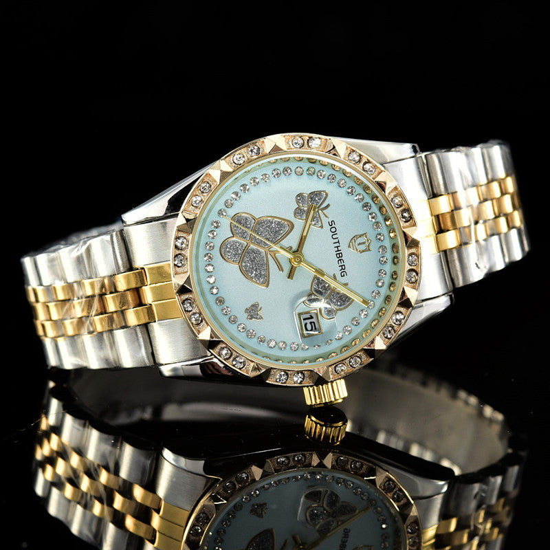 2018 Gold Watch Women Luxury Brand New Geneva Ladies Quartz-Watch Gifts For Girl Full Stainless Steel Rhinestone wrist watches