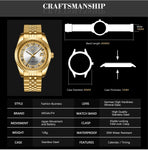MEGALITH Fashion Luxury Watches For Men Waterproof Stainless Steel Quartz Wrist Watches Clock Gold Chronograph Business Watch