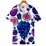 Summer thin cardigan baseball uniform Fruit fruit surrounding trend personality casual 3D thin short sleeve baseball uniform