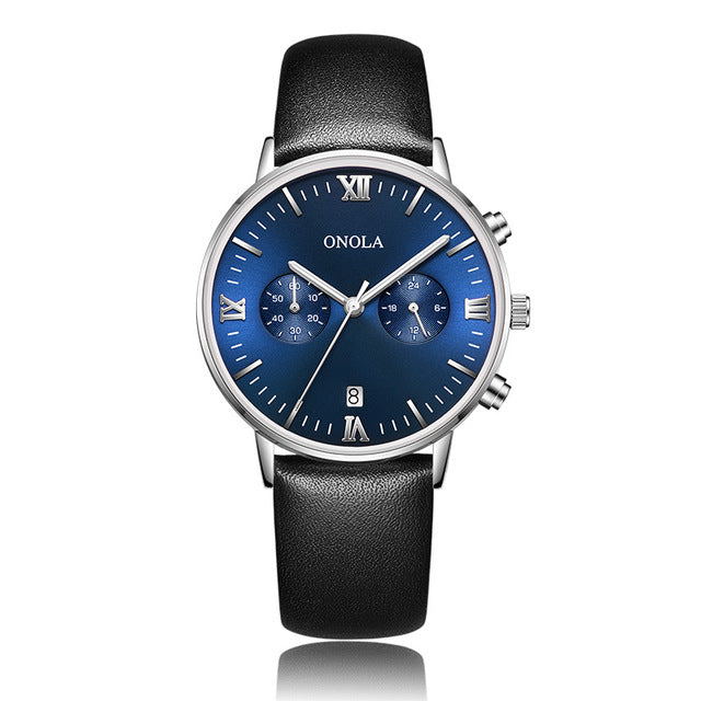 ONOLA brand Business Casual watch man waterproof wristwatch clock Genuine leather Steel band dress fashion simple mens watch