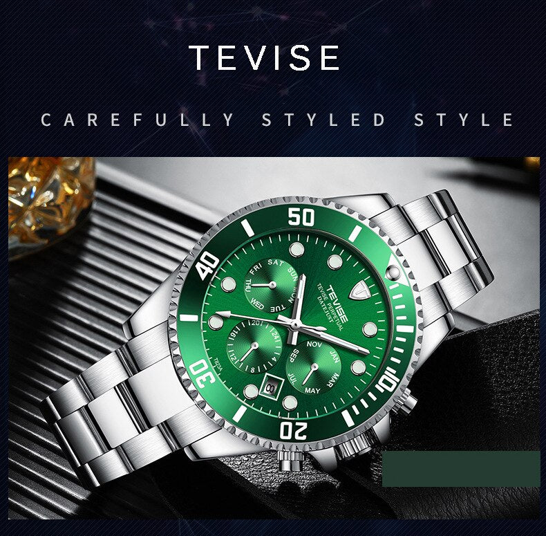 Tevise Men's Watches Automatic Mechanical Watches Top Brand Luxury Watch Men Male Golden Waterproof Wristwatch Relogio Masculino