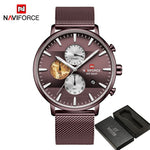 NAVIFORCE Chronograph Man Wristwatch Sport Men Watch Top Brand Luxury Gold Military Army Stainless Steel Quartz Male Clock 9169