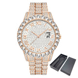 Full Bling Large Diamond Watch For Men ICED-Out Hip Hop Mens Quartz Watches Waterproof Date Male Clock Gold Steel Relogio XFCS