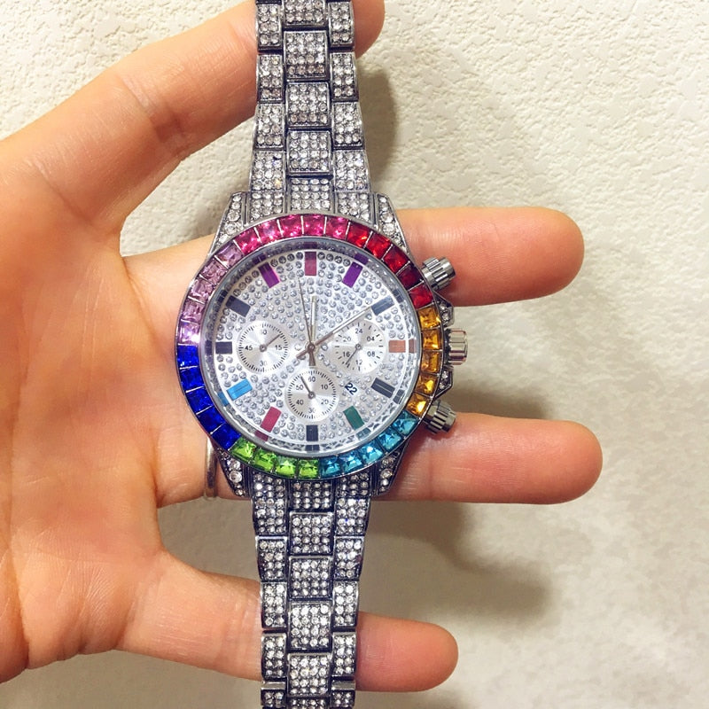 Men Watch Luxury Brand  Mens Gold men Watch Quartz Clock Chronograph colorful Diamond Steel Iced Out Watch