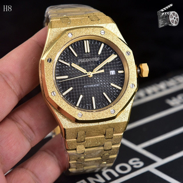 Abrasive Stainless Men Automatic Wristwatche black Dial Design Full Steel Calendar Waterproof Big Watches Top Brand Luxury Clock