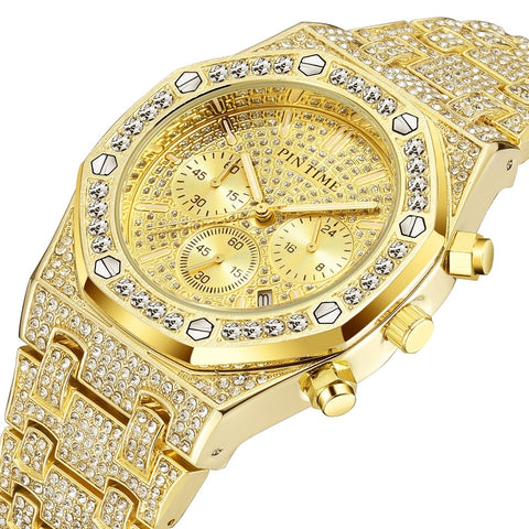 Iced Out Hip Hop Mens watches Diamond Men Luxury Business Chronograph Movement Date Dive Sports Military Watch reloj de hombre