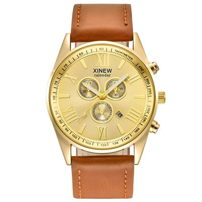 Top Brand XINEW Watches Fashion Luxury Gold Watch Men Leather Strap Casual Date Calendar Quartz Watch Relogio Masculino Marca