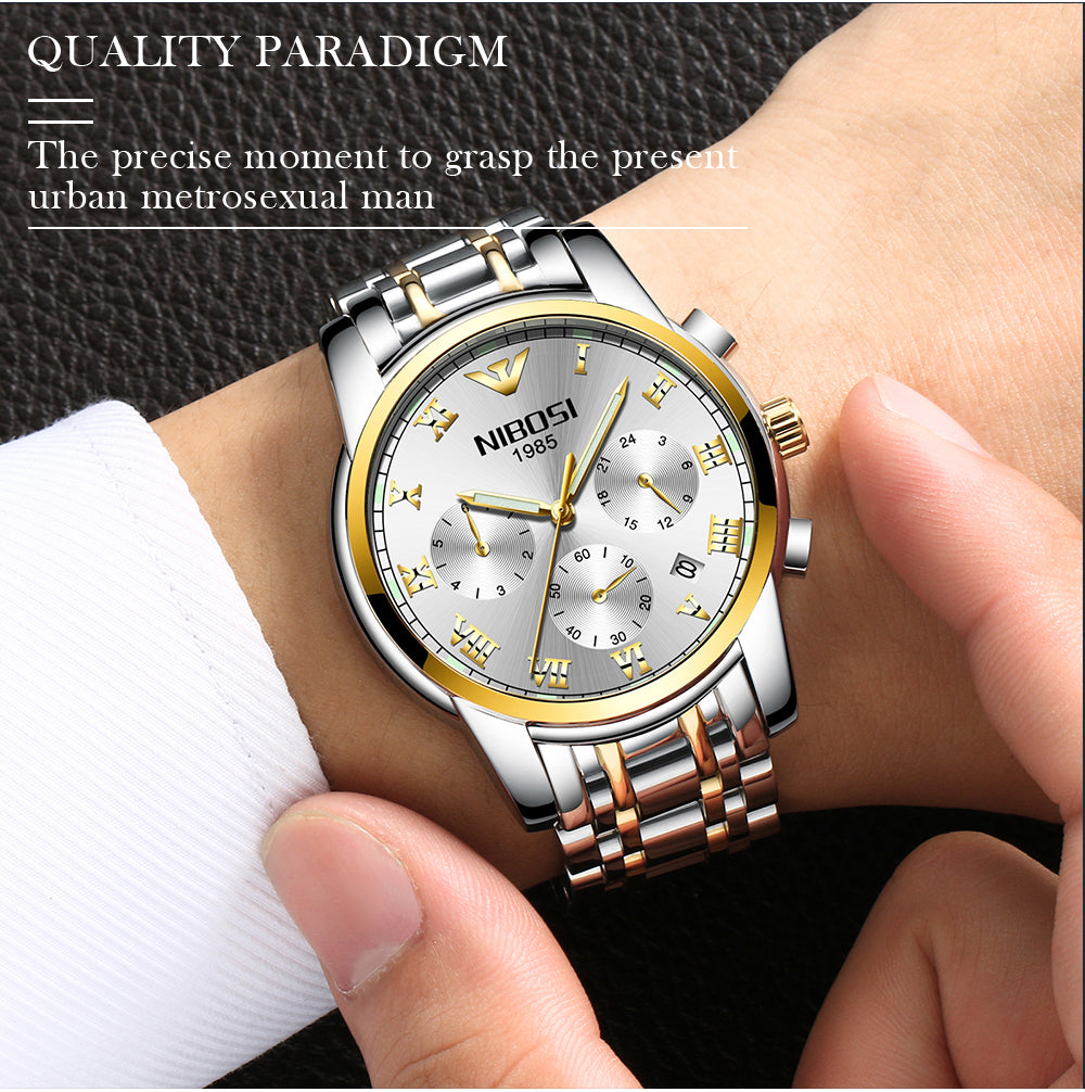 NIBOSI 2019 New Mens Watches Top Brand Luxury Gold Watch Men Waterproof Business Wrist-watch Stainless Steel Relogio Masculino