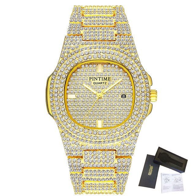 Luxury Bling Diamond Watch For Men Women Hip Hop iced out watch Men Quartz Watches Stainless Steel Band Business Wristwatch Man