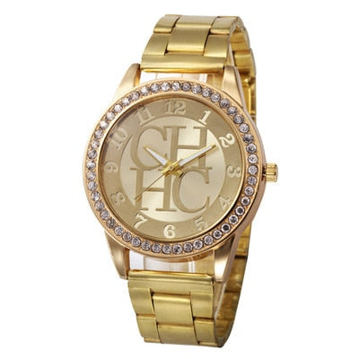 Europe And America Brand Hot Selling Casual Full of Crystals Luxury Top Grade Ladies' Watch Alloy Diamond Set Business Steel Bel