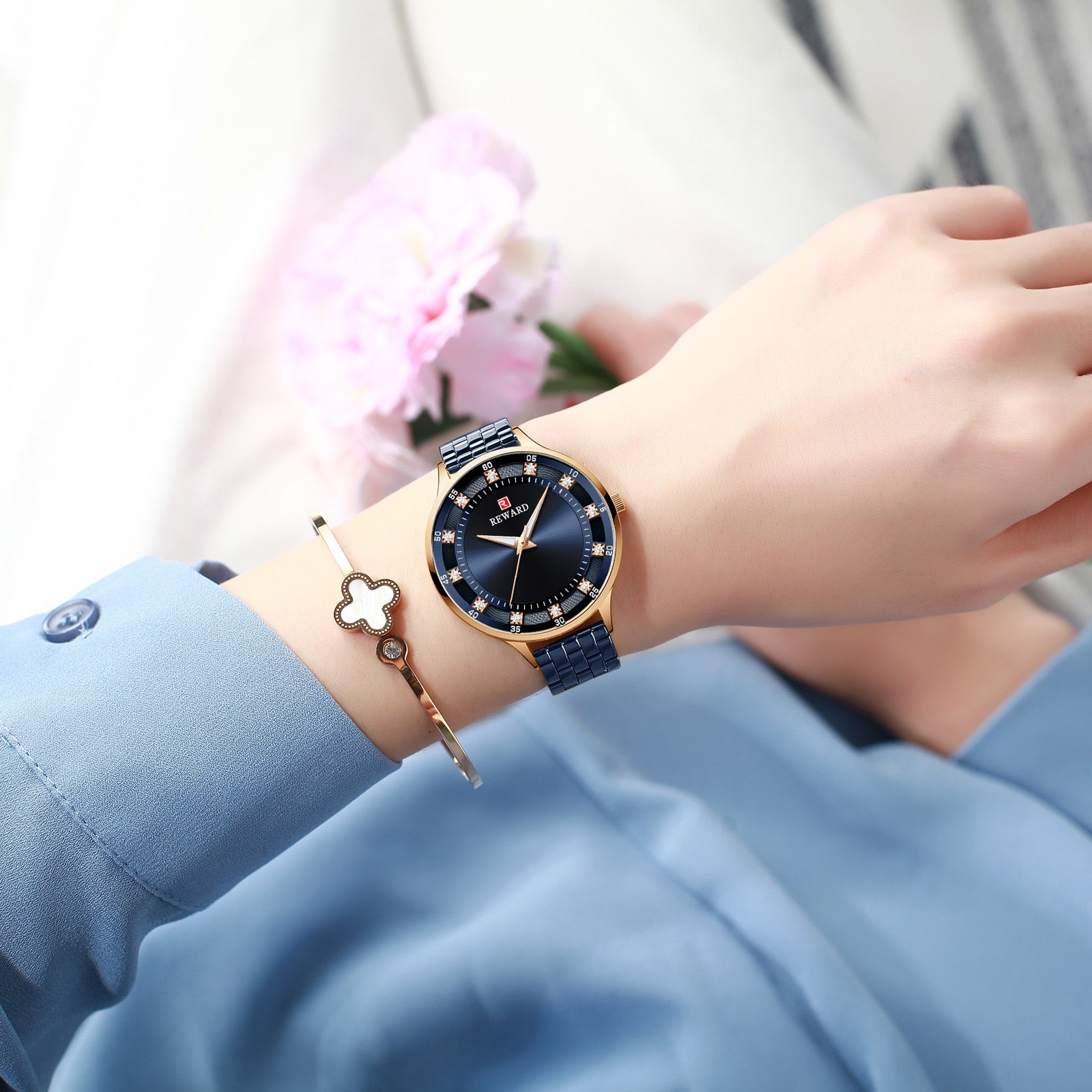 REWARD Women Watch Luxury Brand Ultra-thin Simple Dial Rose Gold Waterproof Luminous Hand Stainless Reloj Mujer Womens Gifts