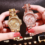 New Womens Watches Top Brand Luxury Bling Fully Rhinestone Watches Three-eyes Quartz Gold Silver Diamond Wristwatch