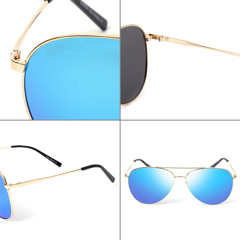 580P Brand Polarized Sunglasses Men Designer Vintage Outdoor Fishing Sunglasses UV400 Mirror Driver Pilot Sunglasses Male Ray