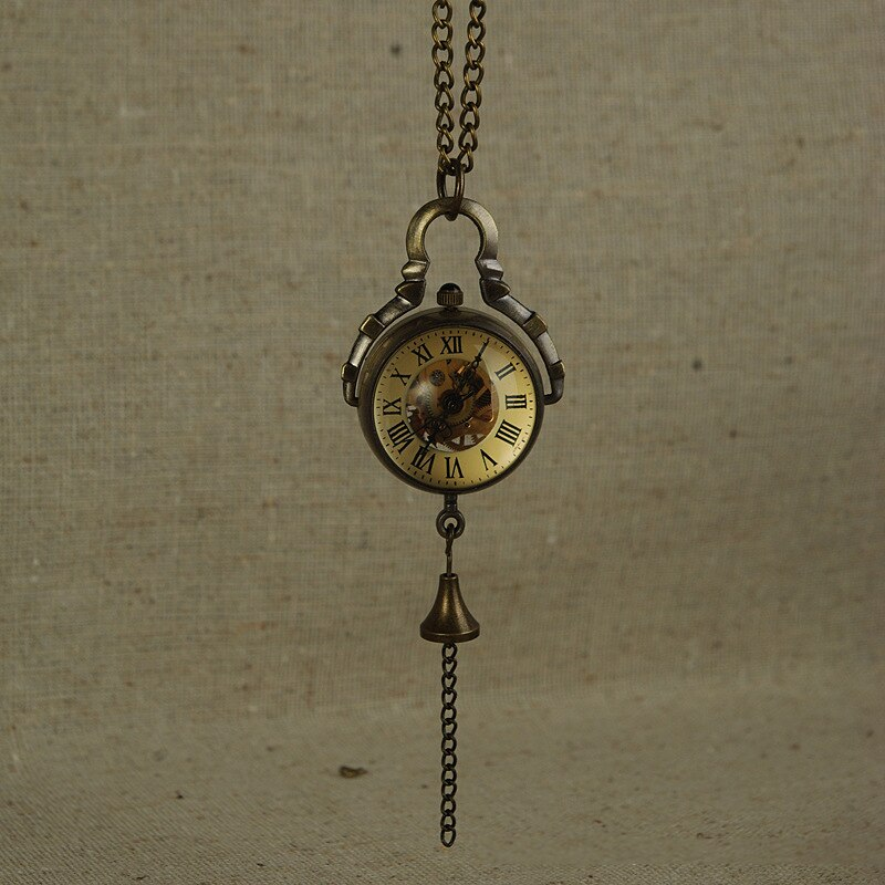 Mechanical retro pocket watch Necklace Steampunk Skeleton Mechanical Fob Pocket Watch Clock Pendant Hand-winding Gift