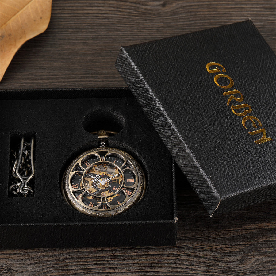 Retro Bronze Hollow Setampunk Mechanical Pocket Watches Vintage Double-sided  Hollow-carved Design Roman Dial Mens Pocket Watch
