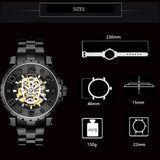 2019 New Black Men's Watches Clocks Casual Automatic Skeleton Watches Steampunk Mechanical Watches zegarek damski