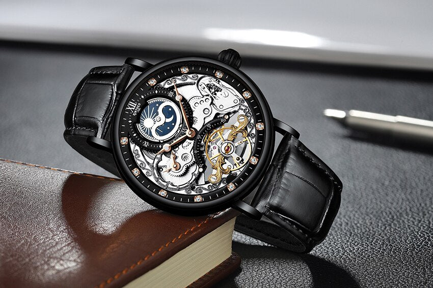 KINYUED New Brand Automatic Watch with Moon Phase Luxury Steampunk Men Mechanical Watches Fashion Man Hour relogio luxo mecanico