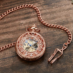 Luxury Steampunk Mechanical Pocket Watch With Chain Hollow Skeleton Hand-winding Men Women Collection Gift Necklace Watch Clock