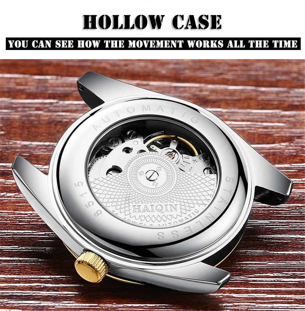 Haiqin Men Watch Automatic Mechanical mens watches top brand Luxury Watch Men gold Business wristwatch Sports  Relogio Masculino