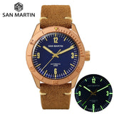 San Martin New Cusn8 Bronze Watches Automatic Diving Wristwatch Sapphire Glass Men's Mechanical Watch Relojes Water Resistant