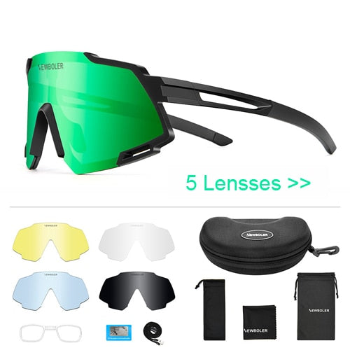 NEWBOLER 2019 Polarized 5 Lens Cycling Glasses Road Bike Cycling Eyewear Cycling Sunglasses MTB Mountain Bicycle Goggles For Man