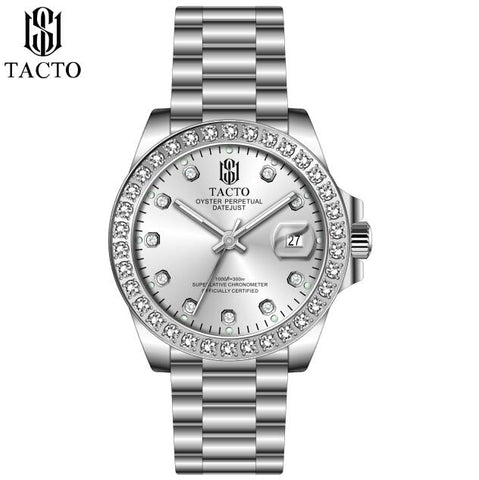 TACTO Men Classical Watches Casual Japan Quartz Business Role Watch Date-Just Analog Dial with Calendar Stainless Steel Bracelet