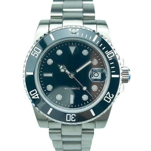 10ATM 100M Water Resistant 40mm Top Quality Men's Black Dial Diver Watch Automatic MIYOTA Mov't Sapphire Crystal Homage Luminous