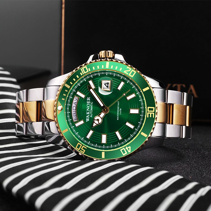 WAKNOER Fashion Business Men's Sport Quartz Watch Men Multifunction Waterproof Luminous Wrist Watch Men Clock Relogio Masculino