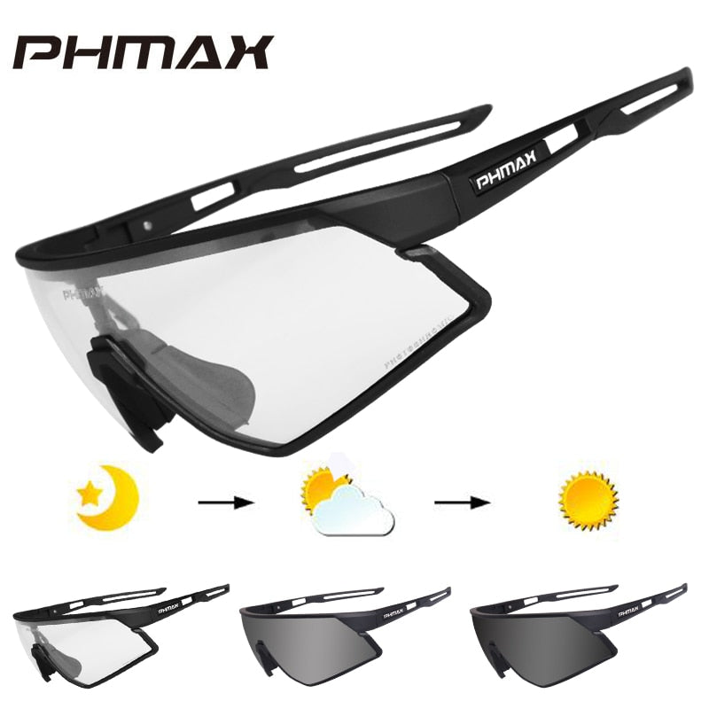 PHMAX Photochromic Cycling Glasses UV400 Outdoor Sports Sunglasses Anti Glare Lightweight Bike Cycling Eyewear Myopia Frame