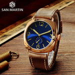 San Martin Bronze Watches Business Casual Simple Men's Quartz Watch Holvin Leather Strap Relojes Luminous 200m Water Resistant