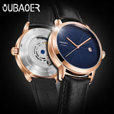 2019 Original OUBAOER Men Watch Top Brand Luxury Automatic Mechanical Watch Leather Military Watches Clock Men Relojes Masculino