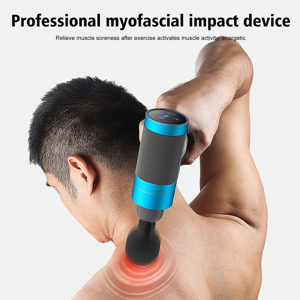 USB Massage Gun Deep Tissue Percussion Muscle Relaxation Handheld Electric Vibration Body Massager Pain Relief Noise Reduction