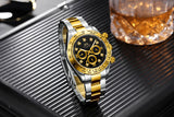 Automatic Watches Self Wind Mechanical Gold Black Stainless Steel Diamonds Stone Fashion Sports Luxury Men Watch